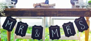 Mr and Mrs table setting, wedding caterer